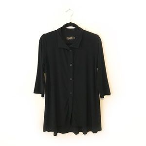 Sympli Black Collared Button Up 3/4 Sleeve Blouse